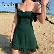 Bazaleas Vintage ajuster bretelles Spaghetti femmes robe Chic vert robe de soirée mince en mousseline de soie volants vestidos