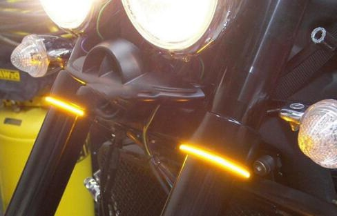 Para KTM RC125 RC200 RC390 125 200 390 690 640 DUKE 1050 ADV, Amortiguador delantero de horquilla trasera de motocicleta, luz LED intermitente