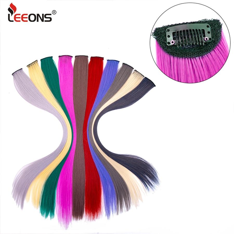 Leeons Synthetische Clip In Haar Extensions 10 Teile/los Frauen Haar Stück Clip Auf Gefälschte Haarteile Haar 60Cm Lange Gerade gefälschte Haar