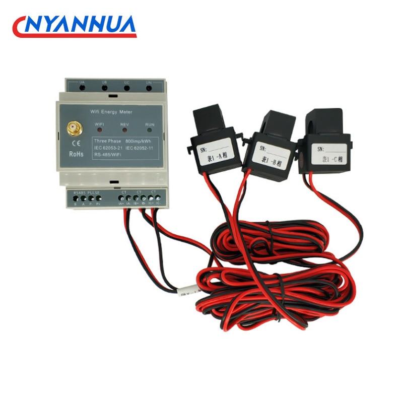 ثلاث مراحل الطاقة الكهربائية Din السكك الحديدية متر WiFi السلطة متر السلطة مراقب مع 10/16 مللي متر سبليت الأساسية محول الحالي