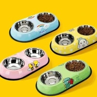 double cat bowl dog bowl with stainless steel material feeding cat water bowl food pet bowls for dogs feeder product supplies