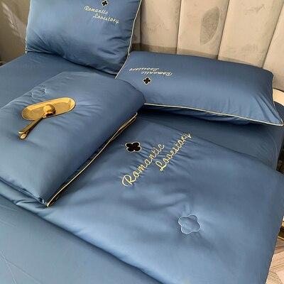 جديد تصميم الحرير السرير البياضات تكييف لحاف الصيف الصلبة الفراش غسلها القطن البطانيات 4 قطعة مجموعة الصيف المعزي