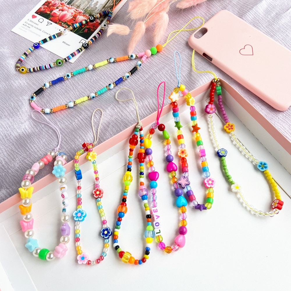 AliExpress - Ant Angel Bohemian Style Colored Soft Ceramic Mobile Phone Lanyard Fruit Flower Heart Star Beaded Wrist Strap Mobile Phone Chain