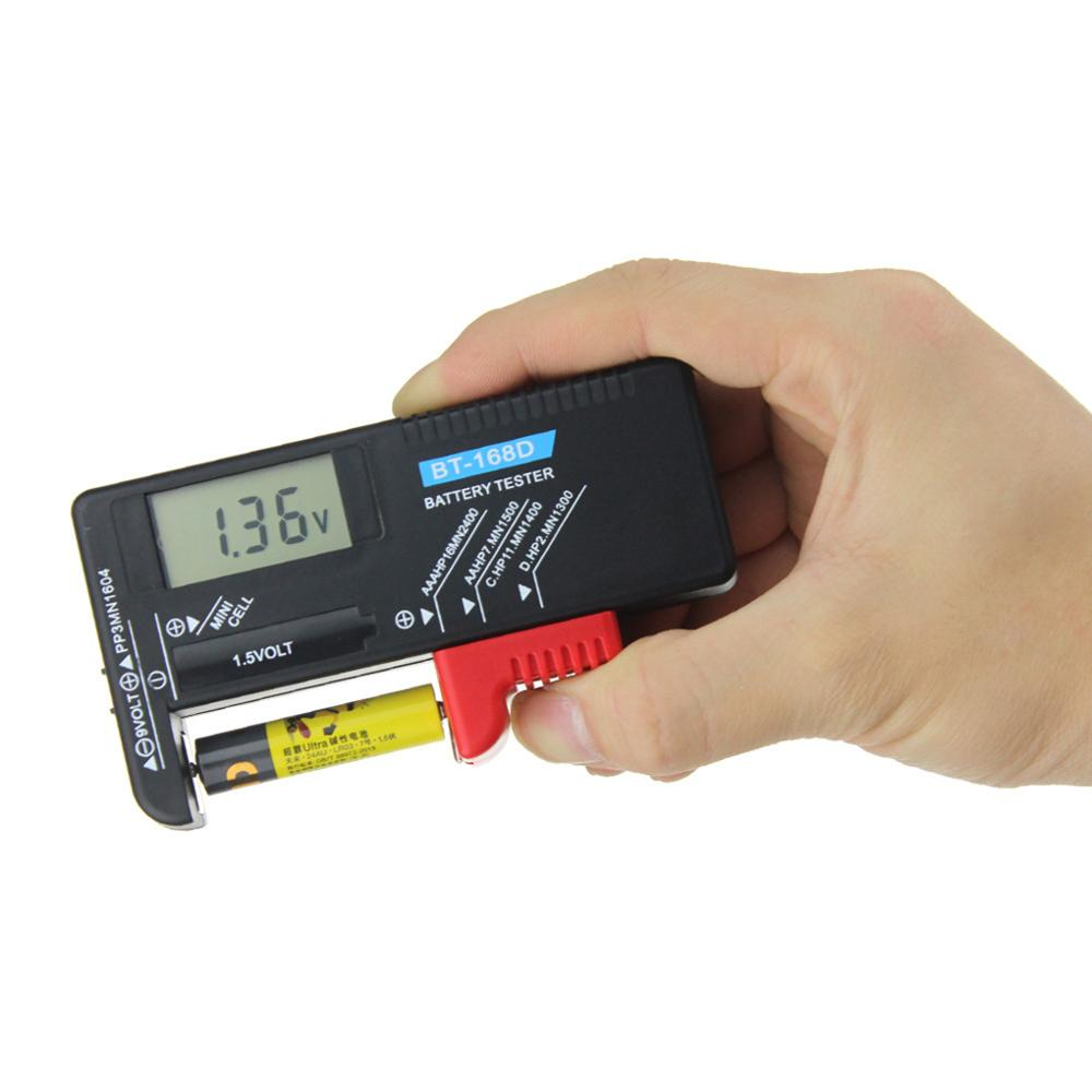 BT-168 Universal Button Multiple Size Battery Tester For AA/AAA/C/D/9V/1.5V LCD Display Digital Battery Tester Volt Checker