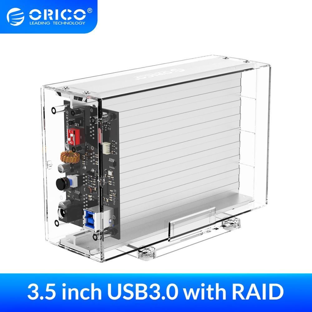 Корпус жесткого диска ORICO 3,5 дюйма с RAID 0 1 PM, прозрачный внешний корпус USB 3,0 на SATA, поддержка UASP 24 ТБ