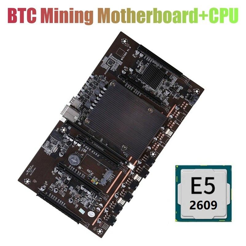 Материнская плата X79 H61 BTC для майнинга, 5X PCI-E 8X LGA 2011 DDR3, поддержка 3060 3080 GPU с процессором E5-2609 для майнинга BTC