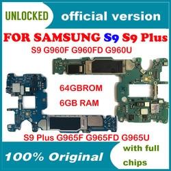 100% Original Unlock Motherboard Para Samsung Galaxy S9 PLUS G965F G960F G965FD G960FD G960U G965U Motherboard
