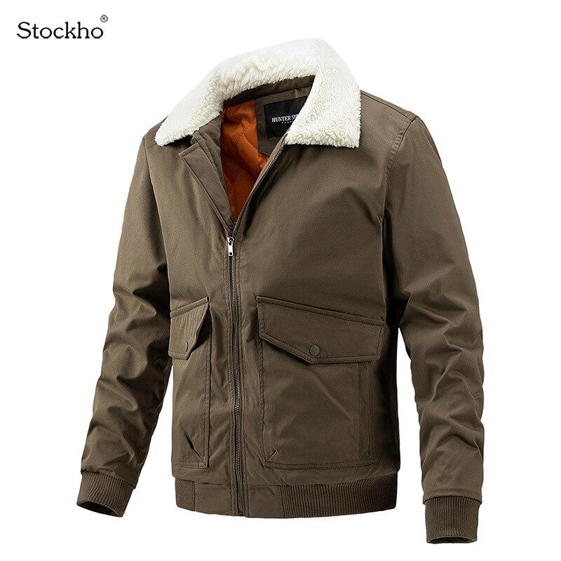 Мужские куртки, зимние куртки из хлопка, куртки с воротником из меха ягненка, зимние клетчатые пальто с хлопковой подкладкой, мужское зимнее...