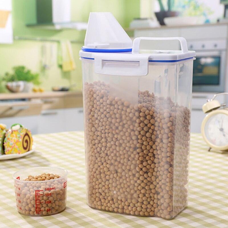 Sellado de arroz barril a prueba de humedad caja de almacenamiento con taza de medir de cocina para el hogar Harina de ahorro de la rueda de cubo de las poblaciones de