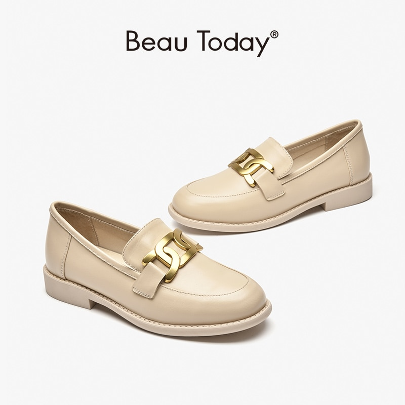 BeauToday حذاء بدون كعب النساء لينة جلد الغنم جولة تو الشقق سلسلة معدنية الانزلاق على موجزة السيدات الأحذية اليدوية 27499