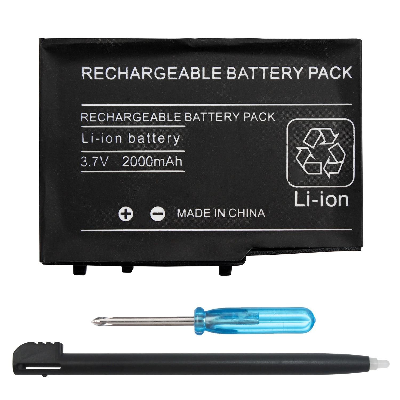 Otent 2000 mah recarregável bateria de íon de lítio + ferramenta + caneta pacote para nintendo dsl ndsl