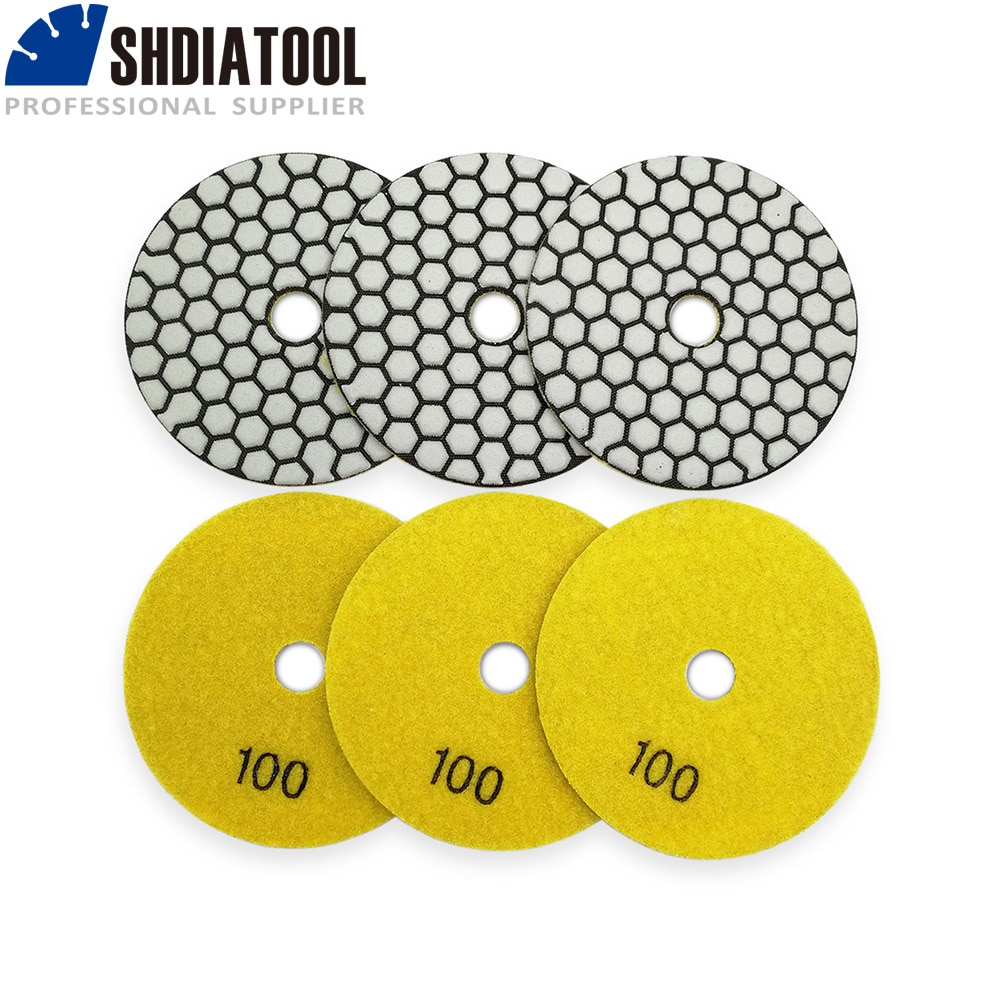 SHDIATOOL 6pcs Diamond Resin Bond Dry Polishing Pad 4