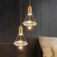 nordic diamond crystal led pendant light bedroom bedside small chandelier hotel restaurant cafe bar hanging pendant lamps