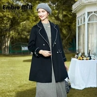double sided wool coat womens autumn and winter new street style elegant mid length lapel double breasted woolen coat s xl