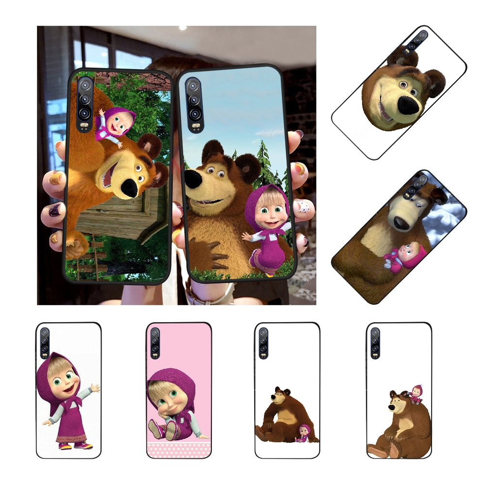 Capa de celular fofa nbdruicai masha e urso, com brilho, para huawei p30 p20 p10 p9 p8 mate 20 10 pro lite