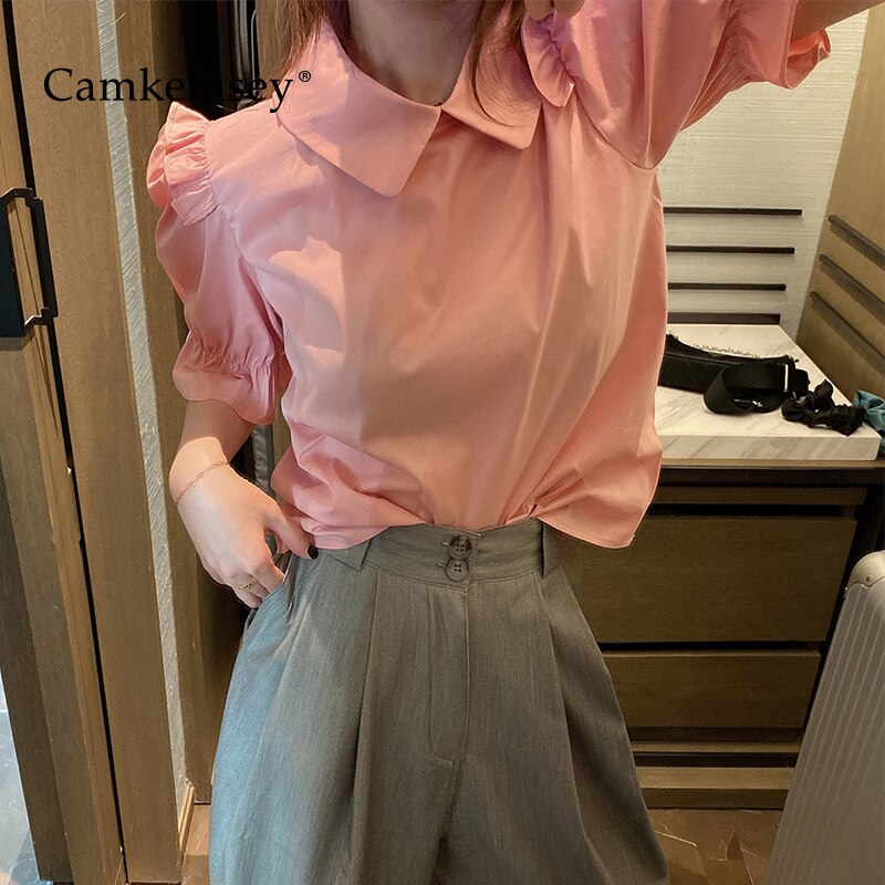 CamKemsey Sweet Pink Summer Blouses Women 2020 Korean Solid Casual Turn Down Collar Half Sleeve Office Blouses