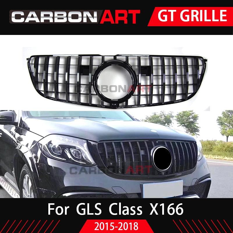 GLS GT Grill Vertical Style For Mercedes GLS Class X166 SUV Auto Front Grille 2016-2018 GLS350 GLS400 GLS500 GLS63 grille