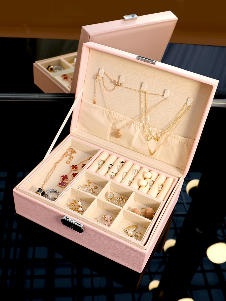 Jewelry Box Household Flannel Princess Style Earrings Earrings Hand Jewelry Large Capacity Necklace Jewelry Bracelet Storage Box