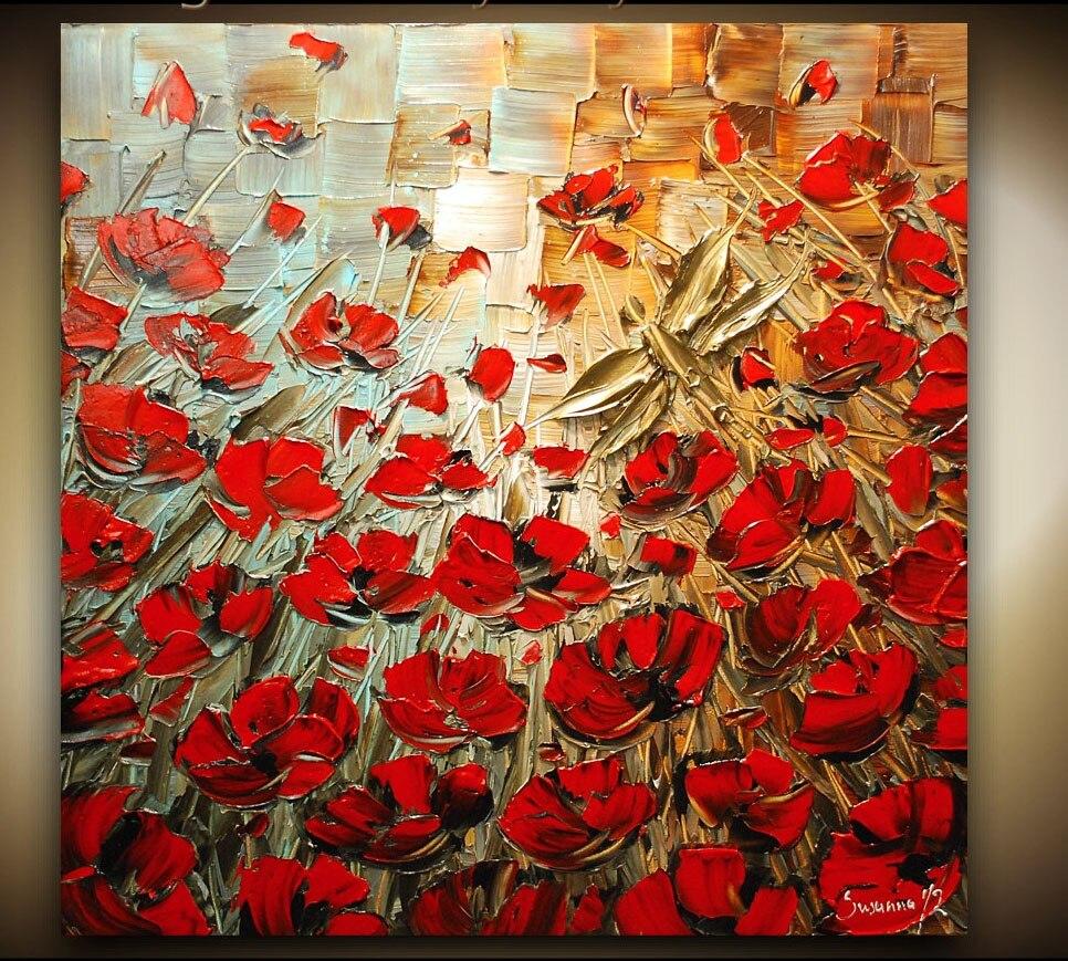 Hand Painted Red Poppy Palette Knife Heavy Texture Flower Oil Paintings Modern Artwork Wall Art Canvass Vinicor Art