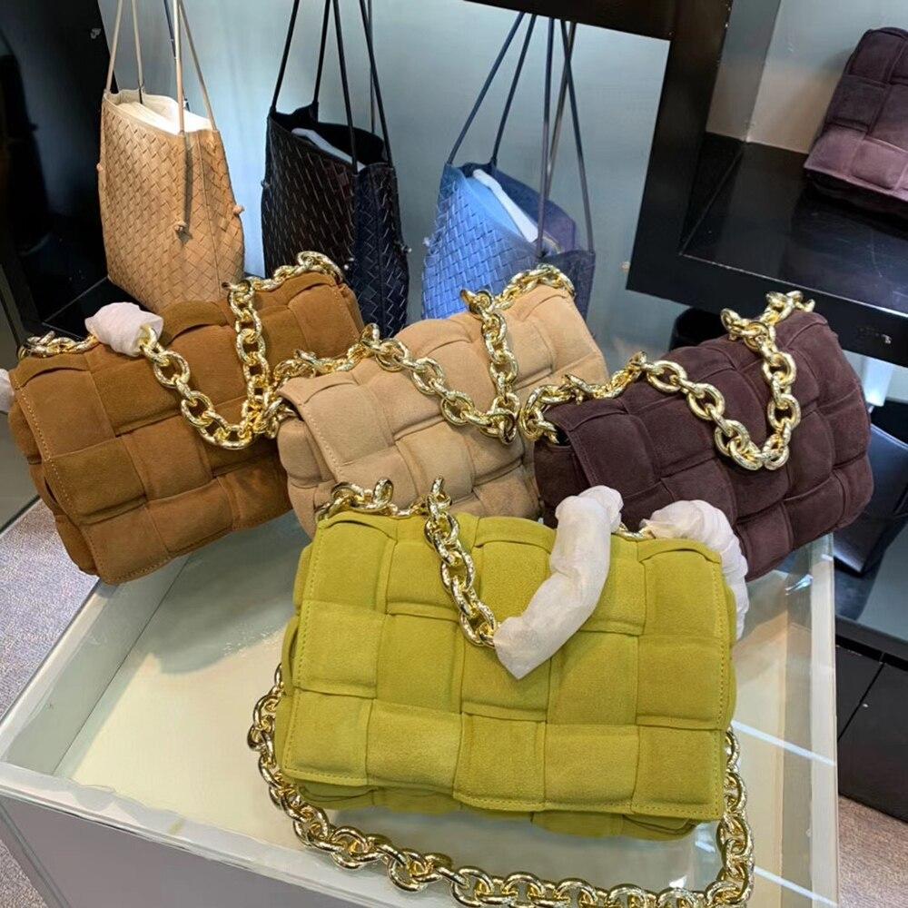 جلد الغزال سلسلة حقيبة ساع حقيبة يد فاخرة المرأة المحافظ مخلب سيدة حقيبة كتف الحياكة Crossbody حقائب الإناث حقيبة عالية الجودة
