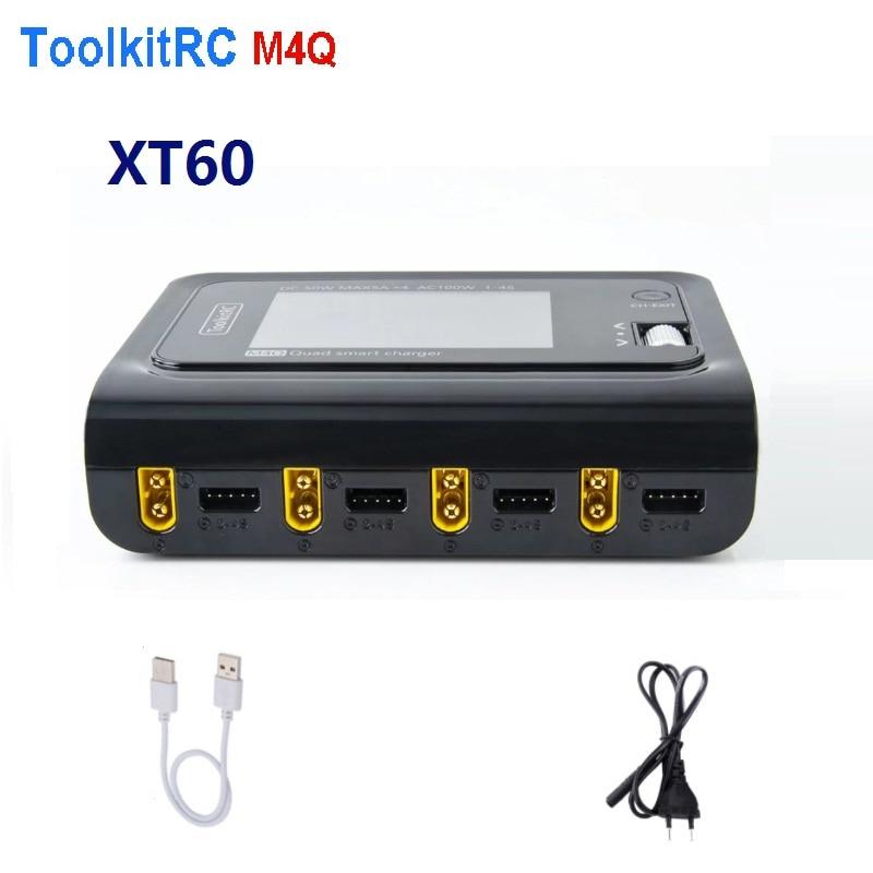 ToolkitRC M4Q 4x50W 5A AC 100W 4 Port DC Smart Charger XT60/XT30 Optional for 1-4S Lipo Battery - XT