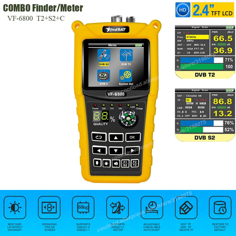 VF-6800 Satellite Finder Meter Dvb-t2/DVB S2/DVB C Combo Sat Finder Dvb t2 Receiver Satellite Satfinder 2.4