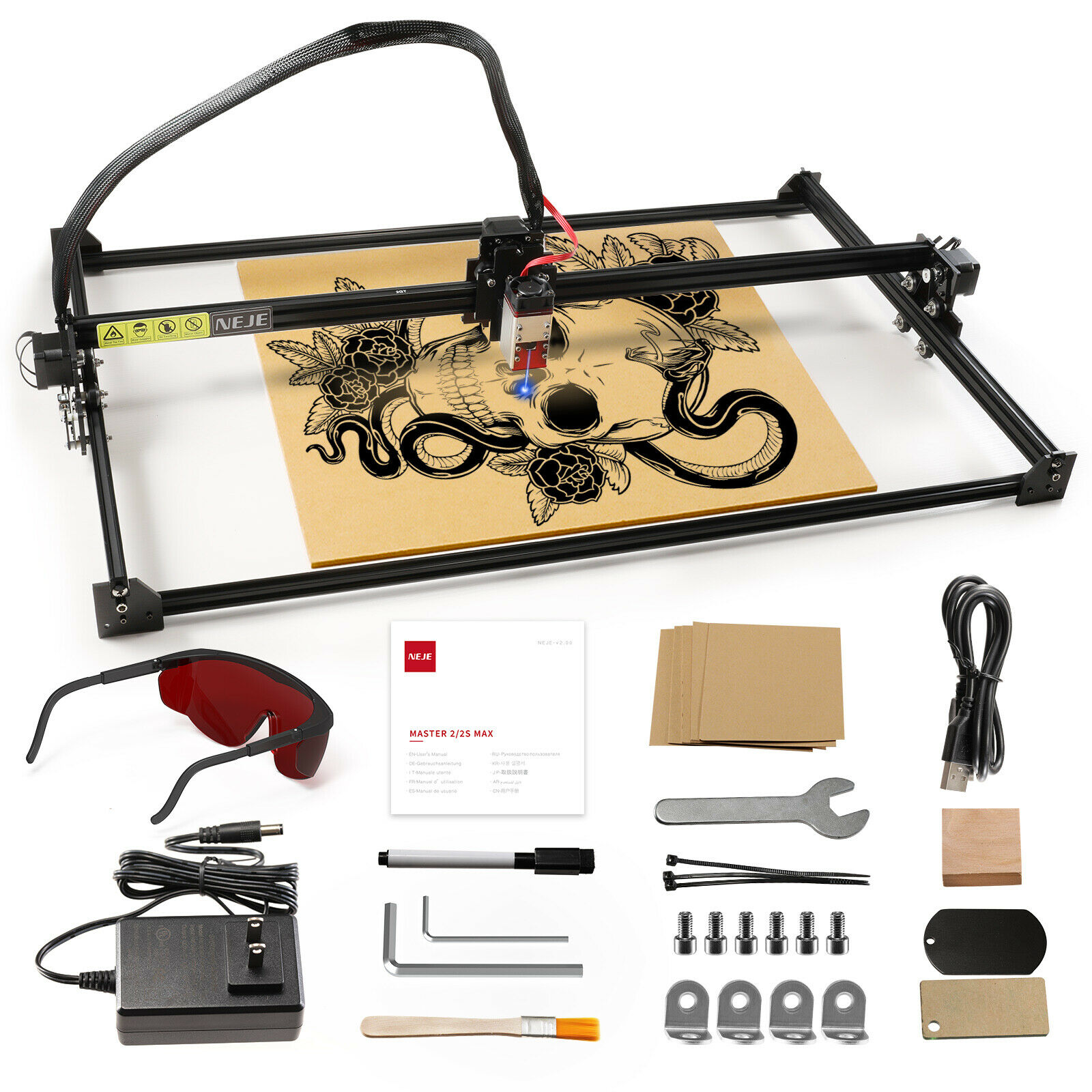 NEJE Master 2S Max 40Watt 810X460mm CNC Laser Engraving Cutting Machine High Power Laser Cutter with Lightburn for Plywood MDF enlarge