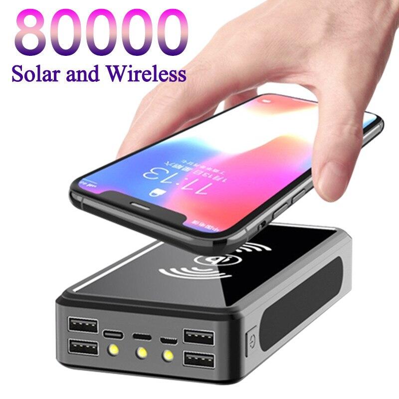 باور بانك محمول لا سلكي يعمل بالطاقة الشمسية بقدرة 80000 مللي أمبير في الساعة شحن سريع آمن باور بانك 4 USB LED بطارية خارجية لهاتف شاومي آيفون وسامس...