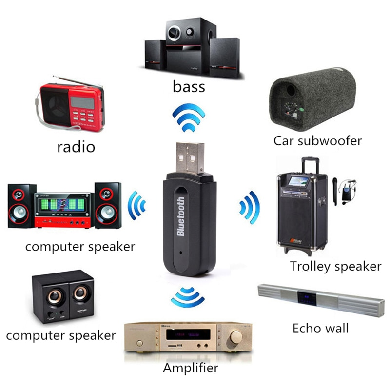 Adaptador Bluetooth USB para altavoz de coche... dispositivo inalámbrico de Audio 3,5mm receptor de Audio interfaz de Audio