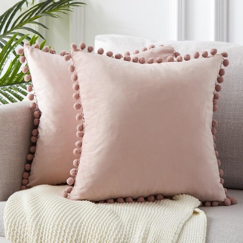 Green Blue Grey Pink Solid Velvet Decorative Pillows Case Soft Velvet Cushion Cover With Pompom Ball