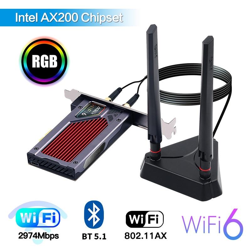 WiFi 6 AX200NGW 3000Mbps PCI Express WiFi Card 802.11AX Dual Band 2.4G/5Ghz BT 5.1 Gaming RGB For Gamer CSGO PUBG LOL Overwatch