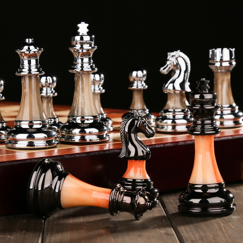 High Quality Luxury Metal Chess Figures 45*45*3cm New Wooden Chess Set Chessboard Games Folding Alloy Home Chess Decorations Set