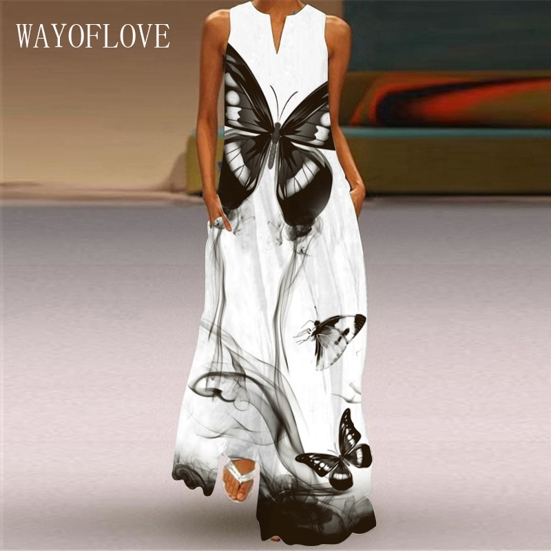 WAYOFLOVE Fashion White Summer Dress 2021 Casual Plus Size Butterfly Print Long Dresses Woman Sleeveless Beach Maxi Dress Women
