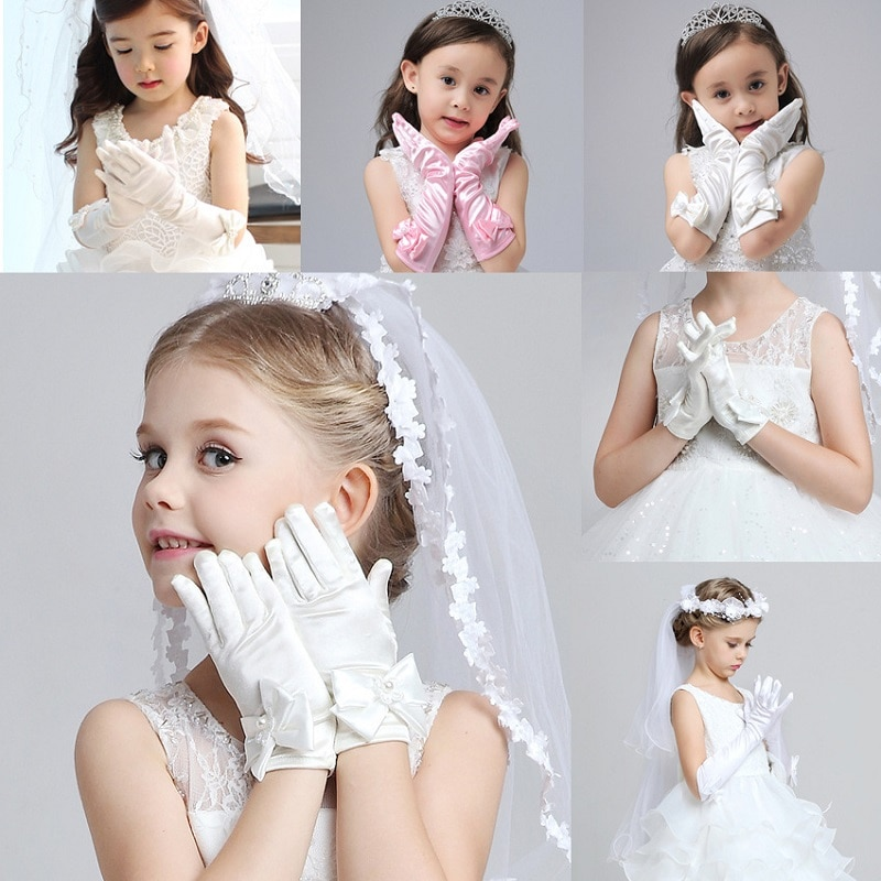 Gloves for Child Girls Long Princess Wedding Dress Bowknot Finger Party Costume Accessories Satin Birthday Gift White Pink