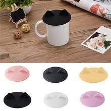 Moderna y creativa taza de café vidrio de silicona de grado alimenticio, de Gato Oreja, tapa de la taza