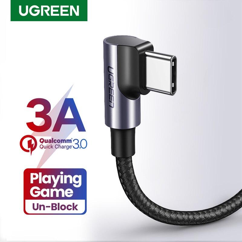 UGREEN-Cable USB de ángulo recto para móvil, Cable de carga rápida tipo...