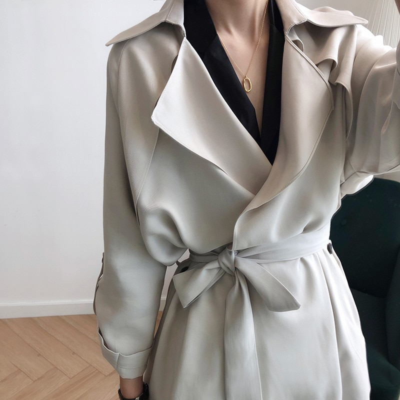 2020 Autumn Casual Women Cotton Trench Coat With Belt Oversize Midi Length Vintage Spring Outerwear