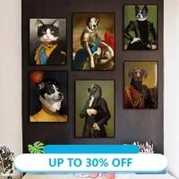 Peinture sur toile de Style Vintage  Portrait danimaux  cerf  chat et chien  tableau dart mural pour decoration de salon  decoration de maison