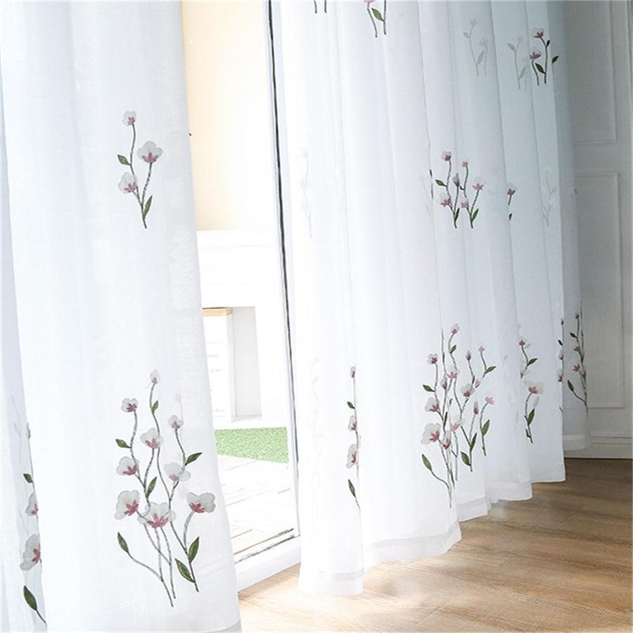 Rosa Kapok, cortinas transparentes bordadas para sala de estar, dormitorio, cortinas elegantes bordadas, cortinas de gasa blanca, Panel MY038-5
