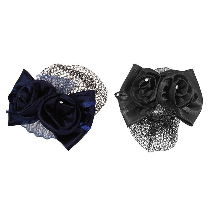 2Pcs Hairnet Hair Clip  1Pcs Blue Flower Bow Hair Clip Snood Net Barrette Bun Cover & Black Polyester Bow Ribbon Metal Barrette
