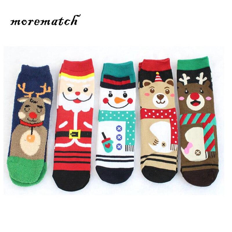 Boy and Girl Children Sock Cotton Christmas socks 1 pair Children Striped Terry Snowflake Elk Santa Claus Christmas Bear elk snowflake geometric print christmas hoodie