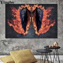 DIY 5D pintura de diamante completo taladro cuadrado alas de Ángel redondas mosaico de diamantes bordado pluma nórdica Cruz decoración de punto arte
