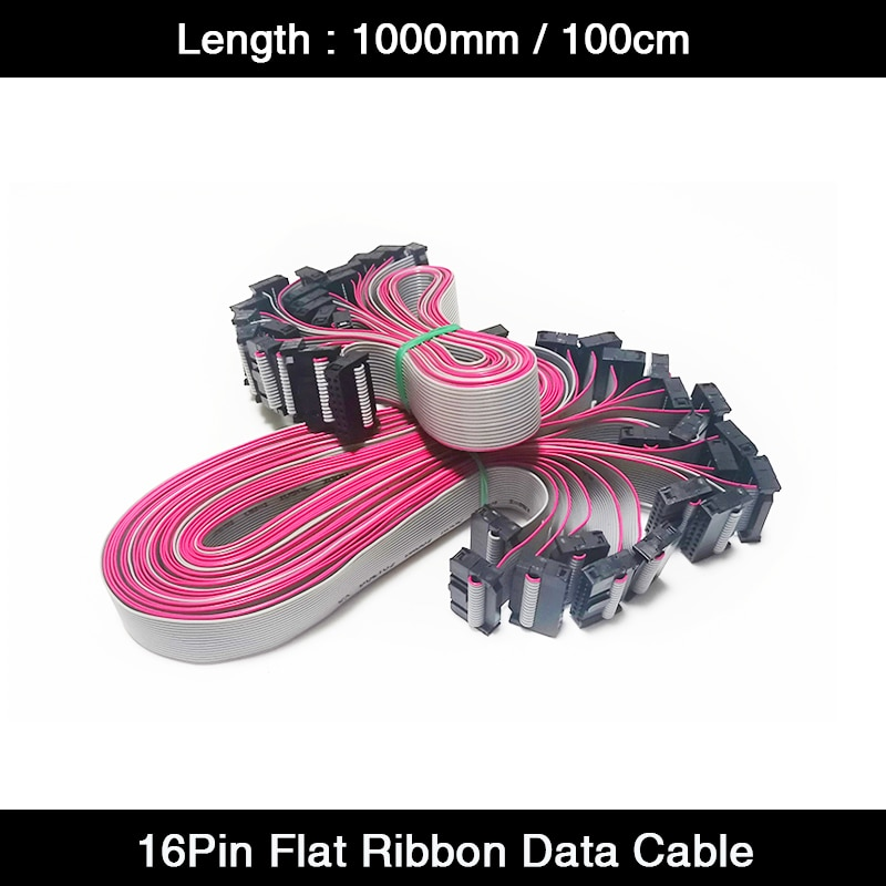 10Pcs/Lot 1000mm/100cm/1m Length 16Pin Flat Ribbon Data Cables for LED Display Control Card Connection