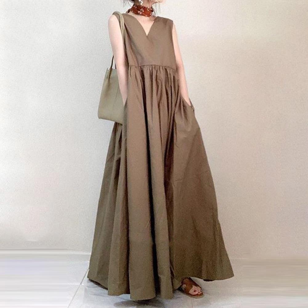 New Women A Line Dress Loose Sleeveless Korean Japan Style Female Women Swing Dresses 2021 Hot Wear