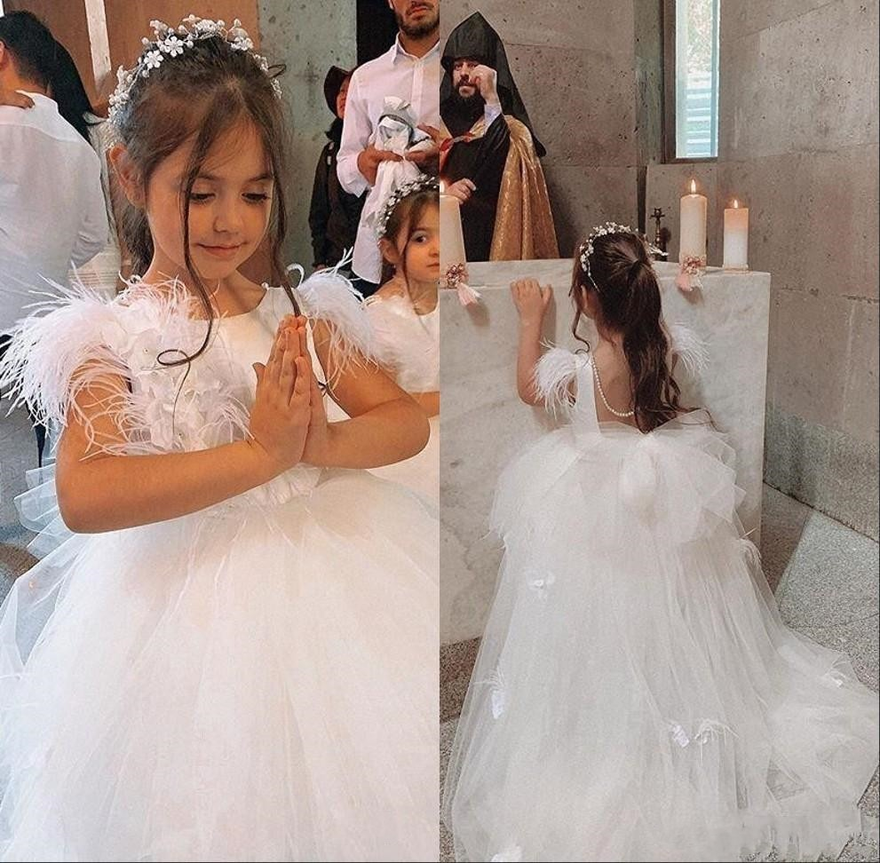 Ball Gown Ivory White Flower Girl Dress Puffy Tulle Feather O Neck Little Girl Birthday Dress First Communion Gown Custom Made