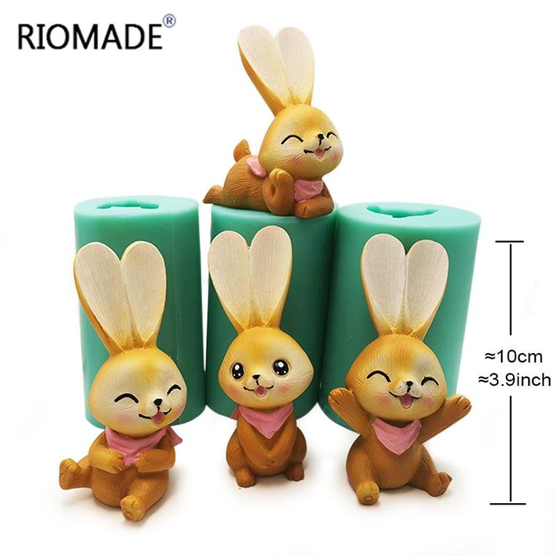 Molde de silicona de conejo con sonrisa 3D para herramientas de decoración de pasteles fabricación de velas moldes de postre Molde de resina de yeso con forma de Animal