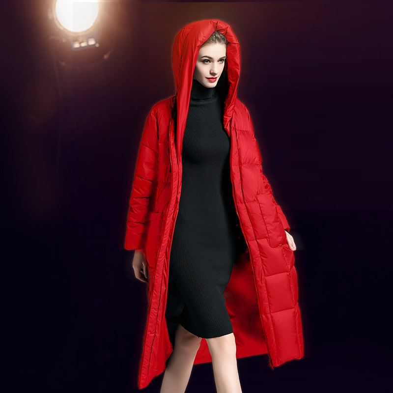 Women down coats luxury autumn winter warm fashion 90% white duck down Jackets Female lady long puffer hooded casual red