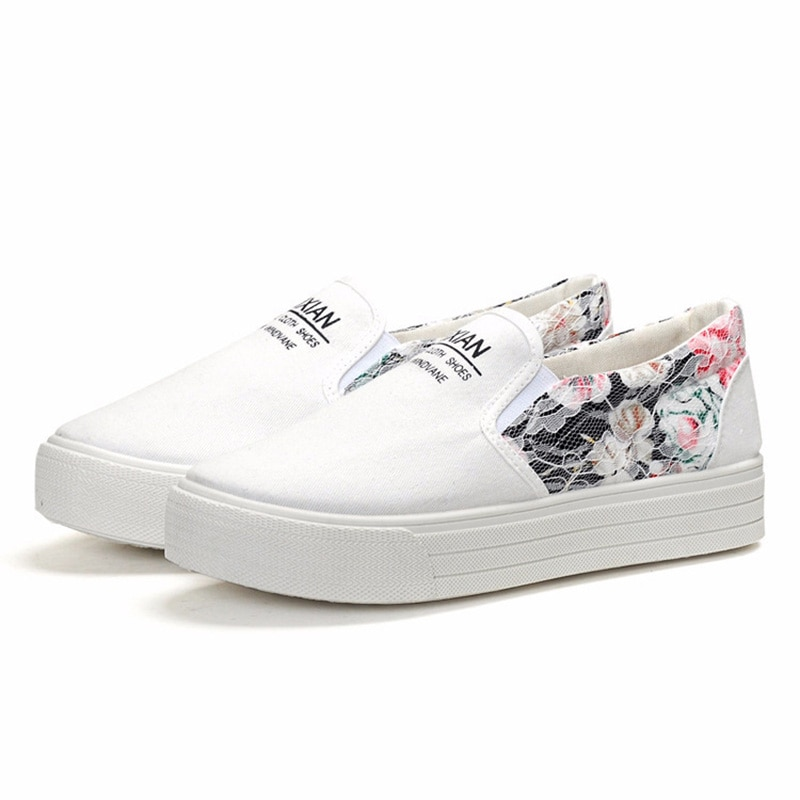 DDl women's single shoes youth fashion canvas shoes muffin thick bottom Lace Floral surface comfortable versatile