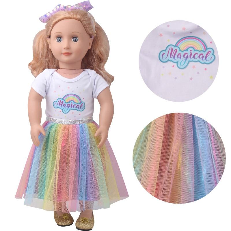 18 inch Girls doll clothes Rainbow print skirt  American doll dress newborn Baby toys fit 43 cm baby dolls c905