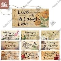 Putuo     citations en bois pour decoration murale  cadeau damitie  amour  amour  amour